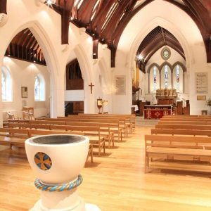 Farncombe baptismal font stackable bespoke benches church furniture