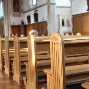 Horsham close up pews traditional engravings kneelers