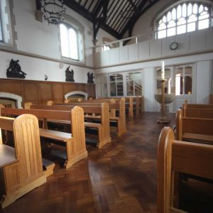 Horsham landscape church view pews kneelers engravings bespoke back