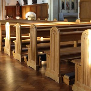 Horsham close up pews traditional engravings kneelers landscape shadows