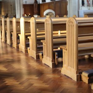 Horsham close up pews traditional engravings kneelers landscape