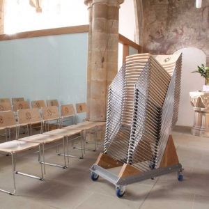 Kirtlington metal frame chairs stacked on special trolley efficient compact easily stored (5)