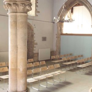 Kirtlington metal frame chairs stackable bespoke rear of church
