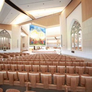 Knock Basilica auditorium flip seating innovative bespoke design