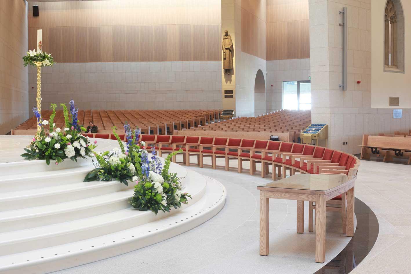 Knock Basilica beautiful landscape image flowers upholstered chairs sanctuary furniture table flip up seating bespoke
