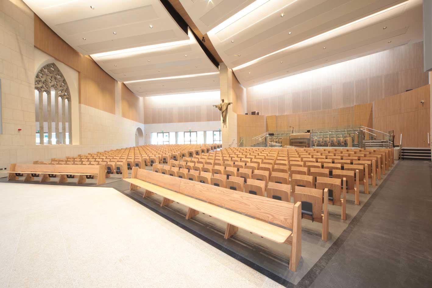Knock Basilica Flip up seating front view bespoke wooden furniture