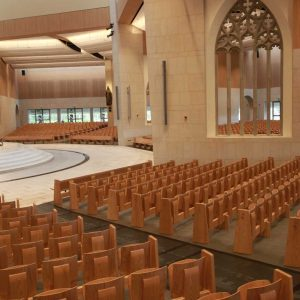 Knock Basilica auditorium flip seating innovative bespoke design portrait