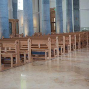 Longford Cathedral St Mel's pews benches engraving kneeler frontal landscape