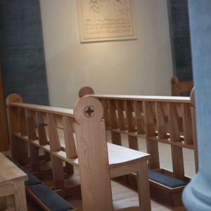 Longford Cathedral St Mel's Pews engraved kneelers wooden bespoke design