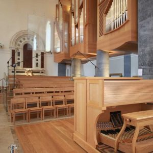 Longford Cathedral St Mel's choir area sound desk wooden chairs organ keys close up