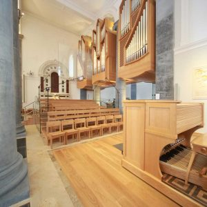 Longford Cathedral St Mel's choir area sound desk wooden chairs organ keys