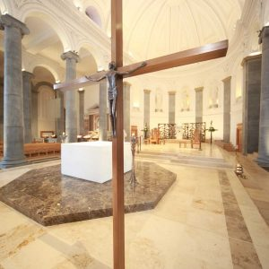 Longford Cathedral St Mel's sanctuary cross wooden bespoke furniture design