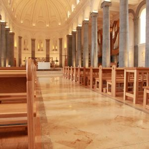 Longford Cathedral St Mel's pews sides engraving aisle toward sanctuary table bespoke brighter