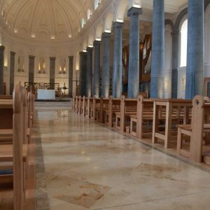Longford Cathedral St Mel's pews sides engraving aisle toward sanctuary table bespoke