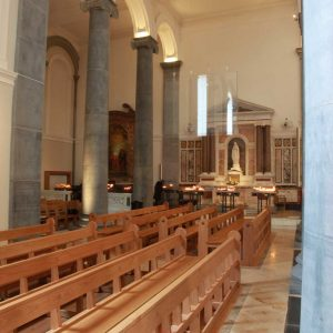Knock Basilica St Mel's pews kneelers engravings upholstered wooden bespoke design (5)