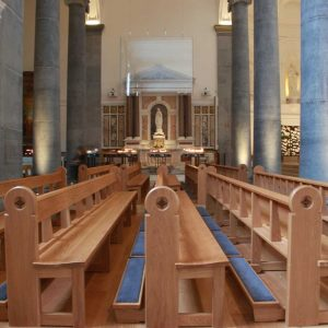 Knock Basilica St Mel's pews kneelers engravings upholstered wooden bespoke design (4)