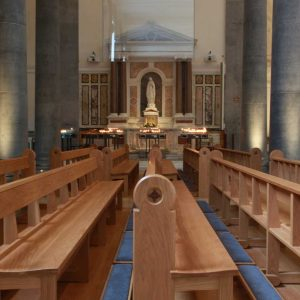 Knock Basilica St Mel's pews kneelers engravings upholstered wooden bespoke design (3)