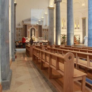 Knock Basilica St Mel's pews kneelers engravings upholstered wooden bespoke design (2)
