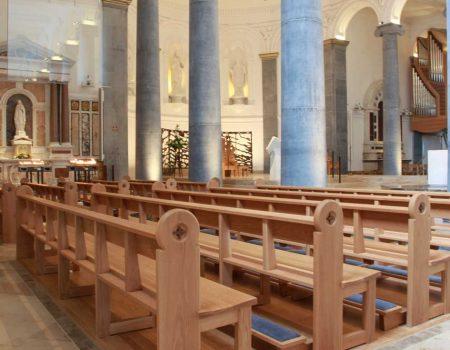 Knock Basilica St Mel's pews kneelers engravings upholstered wooden bespoke design