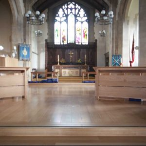 Oxshott choir stalls wooden bespoke made to order unique design