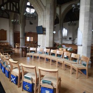 Oxshott wooden chairs cushions stackable engraved cut outs church Oxshott