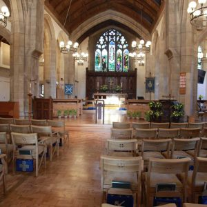 Oxshott choir stalls sound desk engravings bespoke furniture design lectern wooden chairs book shelves church nave (2)