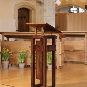 Oxshott choir stalls sound desk engravings bespoke furniture design lectern (4)
