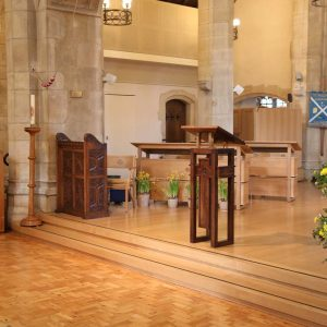 Oxshott choir stalls sound desk engravings bespoke furniture design lectern (3)