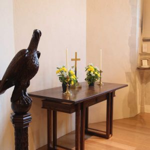 Oxshott table left side candles statue bespoke design (2)