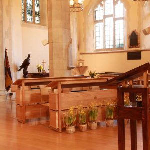 Oxshott choir stalls sound desk engravings bespoke furniture design lectern (2)