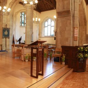 Oxshott choir stalls sound desk engravings bespoke furniture design lectern