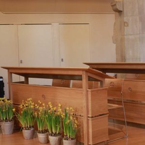 Oxshott choir stalls sound desk engravings bespoke furniture design (5)