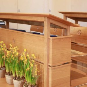Oxshott choir stalls sound desk engravings bespoke furniture design (3)