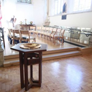 Oxshott wooden chairs church bespoke furniture Oxshott baptismal font engravings portrait (3)
