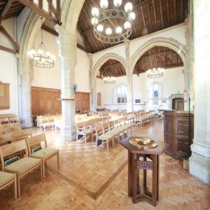 Oxshott wooden chairs church bespoke furniture Oxshott baptismal font engravings landscape
