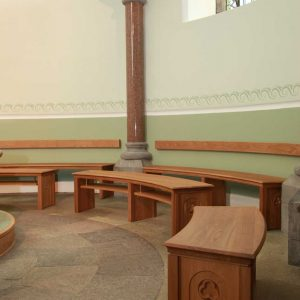 Sligo Cathedral Baptistery formes engravings curved bentwood bespoke design portrait