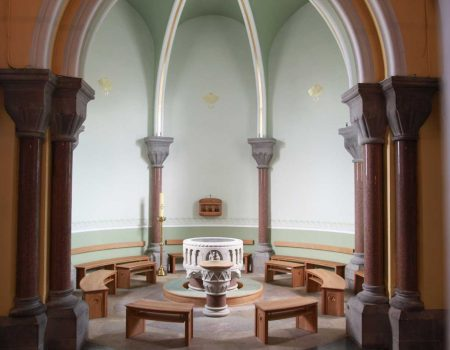 Sligo Cathedral Baptistery wide formes bespoke craft woodwork furniture landscape