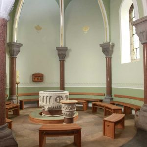 Sligo Cathedral Baptistery wide formes bespoke craft woodwork furniture portrait
