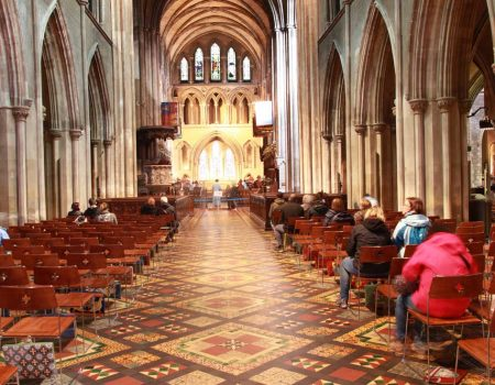 St Patrick's Cathedral metal frame chairs bespoke in the nave of the cathedral