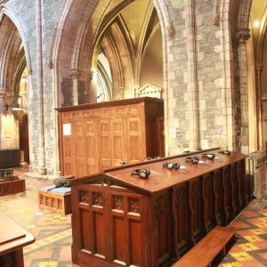 St Patrick's Cathedral educational center furniture all wooden interactive screen