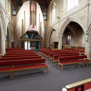 ark's Church benches book shelves red upholstered bespoke front view