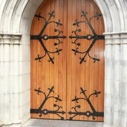 Door bespoke entrance of church traditional historic all wooden style Adare