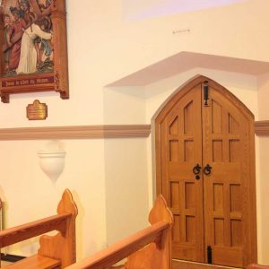 Door inside church locks handles pews stations all wooden