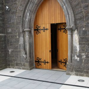Door all wooden entrance to church planks traditional historic style