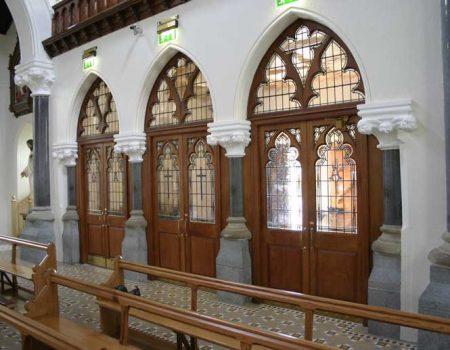 Doors three entrance church glass pane designs bespoke