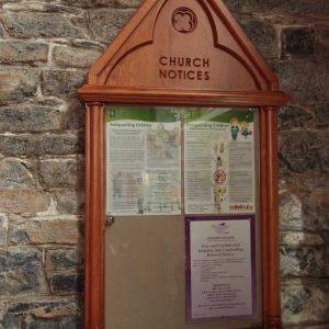Notice board church wooden glass entrance furniture bespoke detailed engravings