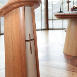 Lectern Close Up detail polished finish with stone effect