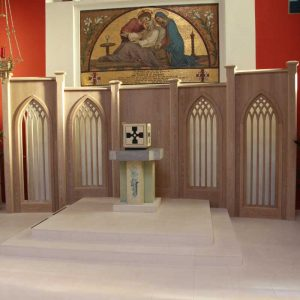 Reredos wooden cut outs impeccable design tabernacle bespoke