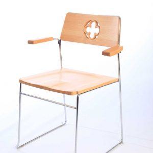 ICS metal frame stackable wooden chair