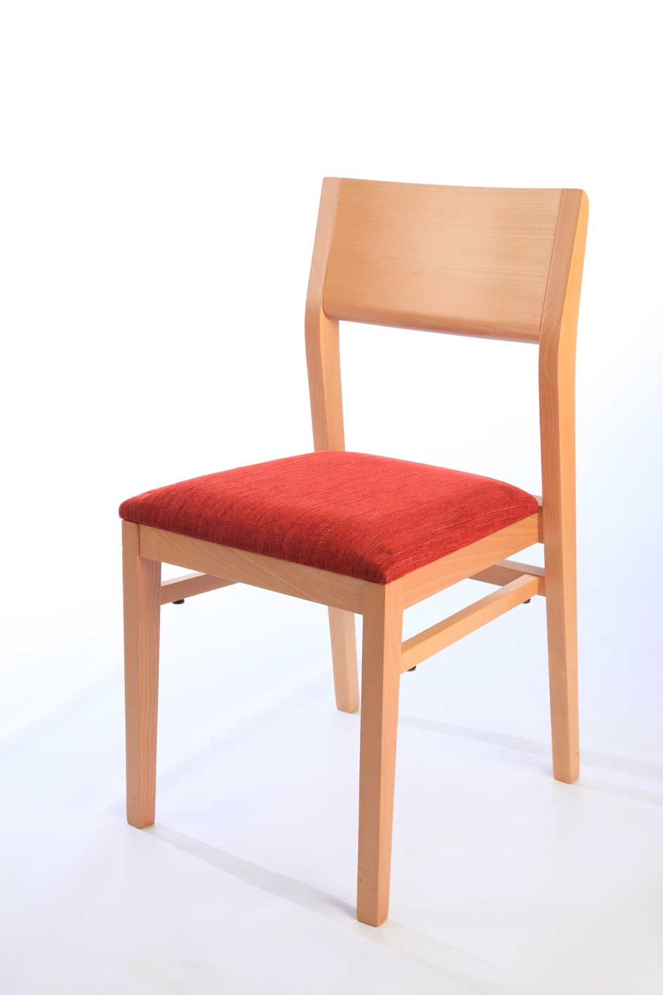Wooden frame stackable chair with red upholstered seat